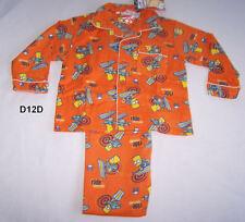 The Simpsons Bart Snowboard Boys Orange Printed Flannel Pyjama Set Size 5 New