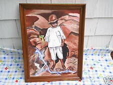 1964 JAMAICAN BOY Canvas Oil Painting SIGNED M. Lodendorf,margaret,jamaica