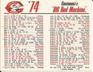 1974 Cincinnati Reds Big Green baseball schedule