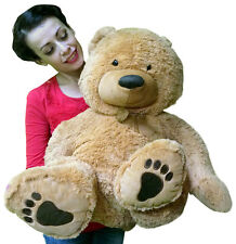 Big Plush Giant Stuffed Beige Teddy Bear with Big Belly and Big Foot Paws New
