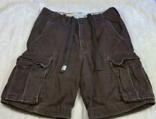 ABERCROMBIE AND FITCH DARK BROWN HEAVY DUTY DISTRESSED CARGO SHORTS 30