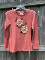 Ivy Jane 3D Floral Boho Top Coral Pink Long Sleeve Shirt Size Small Blouse