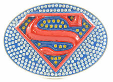 SUPER HERO S SUPER MAN BLING LOGO BELT BUCKLE DC SUPERMAN GIRL SNAP BELT