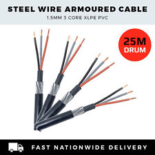STEEL WIRE ARMOURED CABLE 1.5MM 3 CORE LIGHTING CABLE SOCKETS CABLE PER 25M DRUM