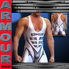 ARMOUR WEAR LYCRA SPANDEX WRESTLING TRI WORKOUT COMPRESSION SINGLET WHITE MD LG