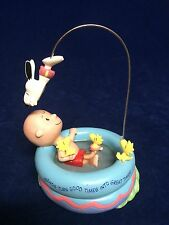 """CHARLIE BROWN SNOOPY IN POOL """"GREAT TIMES"""" HALLMARK FIGURINE 1ST EDITION"""