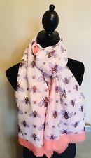 Ladies Stunning Honey Bee Print Womens Peach Fashion Scarf With Frayed Edge
