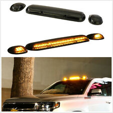 3pcs Car Truck Cab Roof Top Marker Running Lamps Black Smoked Amber LED Lights