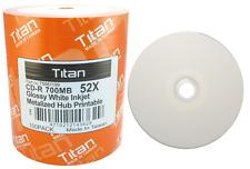 100 Titan Brand 52X Glossy White Inkjet HUB Printable CD-R CDR Disc 700MB