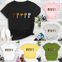 Women Summer Short Sleeve T Shirt Blouse Round Neck Print Tee Tops T-Shirt LIU9