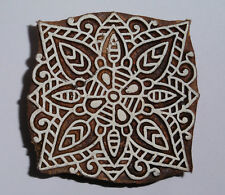 Floral Square Shaped 6.3cm Indian Hand Carved Wooden Printing Block (FSQ25)