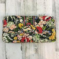 Vera Bradley Poppy Fields Clutch Shoulder Bag Purse Handbag Red Black Floral