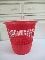 ♦ Ancienne Poubelle De Bureau Corbeille à Papiers Rouge Vintage Plastique 29 Cm
