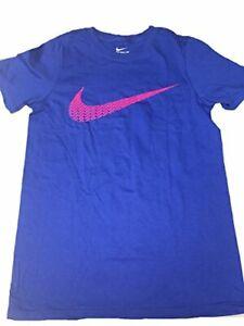 Nike Boy's Swoosh Graphic T-Shirt Blue/Pink Sz M 902429-480