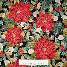 "Christmas Splendor Fabric - Large Poinsettia Pine Holly Black - Henry Glass 31"""