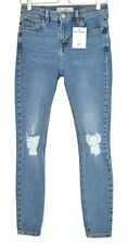 Skinny Topshop High Rise JAMIE Blue Ripped Stretch Jeans Size 12 W30 L32