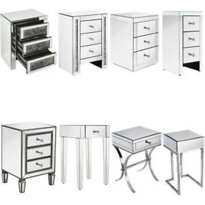 VENETIAN Mirrored Bedside Table Glass Nightstand Cabinet Drawer Bedroom Cabinet