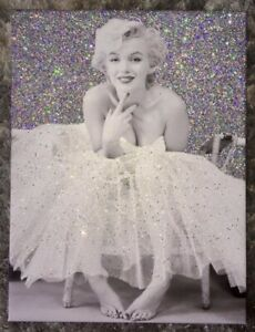 Silver And White Glitter Marilyn Monroe Ballerina Canvas Art Gift Birthday