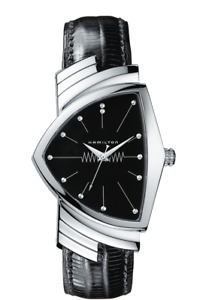 New Hamilton Ventura Black Dial Leather Band Men's Watch H24411732