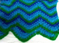"Crochet Afghan Blanket Handmade Korea  Throw 78"" x 46"" Preowned Blues Green!"