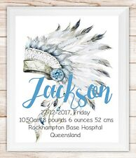 Nursery/Baby personalised,birth announcement/stats boho tribal boys girls gift