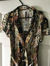Mango Button Down Midi Wrap Dress In Dark Florals Size Small 8/10 New With Tags
