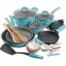The Pioneer Woman Vintage Speckle 24-Piece Cookware Combo Set Pan Pot Turquoise