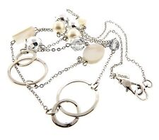 """Chain Silver Plated 41"""" by Rachel Mop Mother of Pearl Necklace Long"""