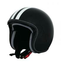 Vespa Fiber Decal Open Face Jet Motorcycle Black White Stripe Crash Helmet New