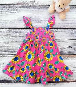 NEW Baby Girls M&S Pink Sunflower Print Cotton Dress Age 3-6 Months