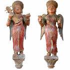 Pair Antique Indian Painted Teak Musical Angel Attendants Architectural Brackets