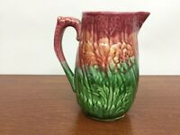 Antique Majolica Pitcher Floral Poppy 2/3 tone Green & PINK/Red