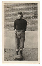 1920s Photo of Man in Football Uniform with Vintage Football