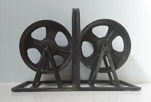 VINTAGE INDUSTRIAL MACHINE AGE BLACK METAL STEEL WHEELS REELS DESK BOOKENDS