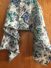 Vintage Nylon Japan Blue Green Glentex Scarf Hand Rolled 42 X 13 (521)