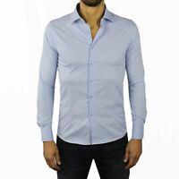 Camicia Uomo Celeste Slim Fit Manica Lunga Cotone Sartoriale Elegante S M L XL