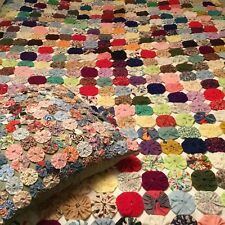 "VINTAGE HAND MADE YO YO COVERLET AND YO YO PILLOW! GORGEOUS!!! 78"" X 68"""