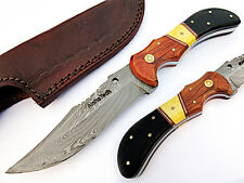 Sailor King Hunting Knife Damascus Steel Blade Bone,horn and Wood Handle AT-2117