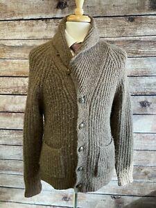 Polo Ralph Lauren Shaggy Cardigan Sweater Size S Brown Alpaca Wool