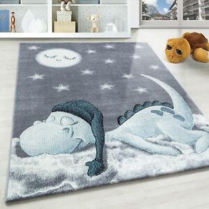 Dino Wolke Kurzflor Kinderteppich Kinderzimmer Babyzimmer Teppich Soft Grau Blau
