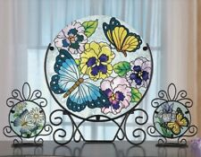Butterfly Floral Glass Plates on Metal Display Stand Table Decor 3Pc Set