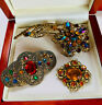 VINTAGE JEWELLERY MIXED LOT CZECH ART DECO RHINESTONE FILIGREE BROOCHES/PINS
