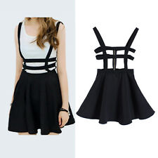Fashion Women Suspender Skirt Braces Hollow out Bandage Mini Skater Dress Z