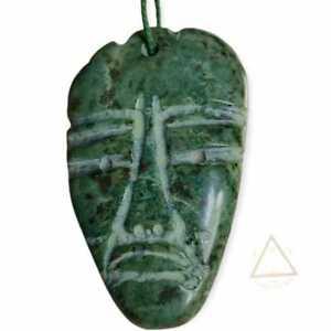 Jade Serpentine Pendant Mayan Face Handmade Carved Artisan