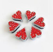 10pcs 8mm Red Rhinestone Heart Slide Charms Fit DIY 8mm Collar Belts Wristbands