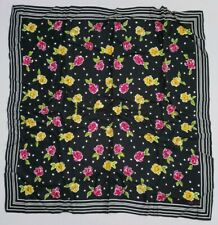 """$129 Echo silk scarf large Square 50/"""" Black back r flowers  with butterfliesK506"""