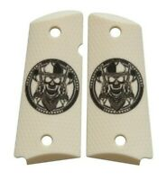 Custom Compact Officer 1911 Grips Ambidextrous Cowboy Skull
