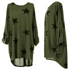 Women Batwing Star Print Lagenlook Blouse Knitted Baggy Tunic Top Dress Oversize