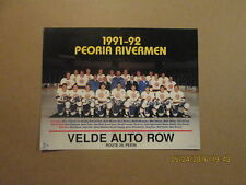 IHL Peoria Rivermen Vintage 1991-1992 Team Photo Poster