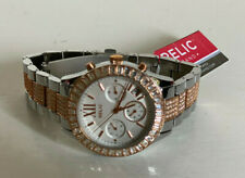NEW RELIC BAILEY CRYSTALS GLITZ TWO-TONE ROSE GOLD SILVER WATCH ZR15803 $95 SALE